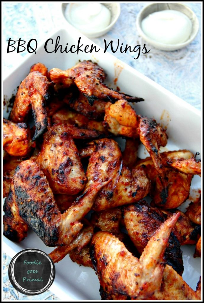 BBQ Chicken Wings with Blue Cheese Dipping Sauce {Sugar-Free, Paleo, LCHF}