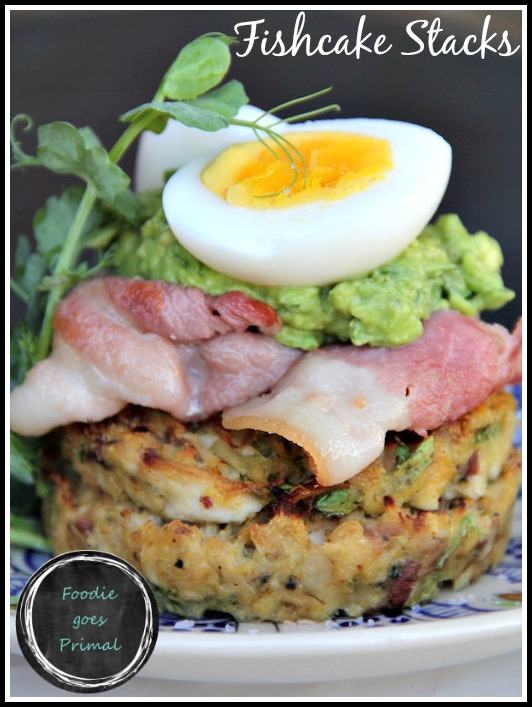 Fishcakes with Bacon & Guacamole {LCHF, Banting, Paleo}